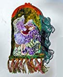 Celluloid Frame Purse Fairy of Ribbon & Stumpwork Embroidery, Heliotrope Fairy w/ Beaded Wings, Flowers In A Forest of Green-Red Dyed Velvet. One of a Kind!