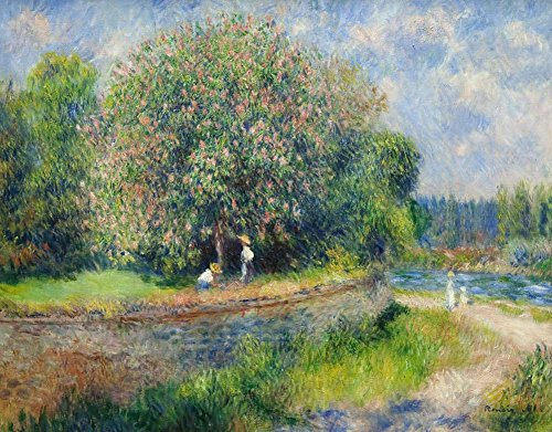 Canvas Art Print Reproduction Unmounted - 60X45cm (Approx. 24X18inch) Chestnut Tree in Bloom by Pierre-Auguste Renoir - Landscape Paintings Giclee Picture Artwork Wall Decor