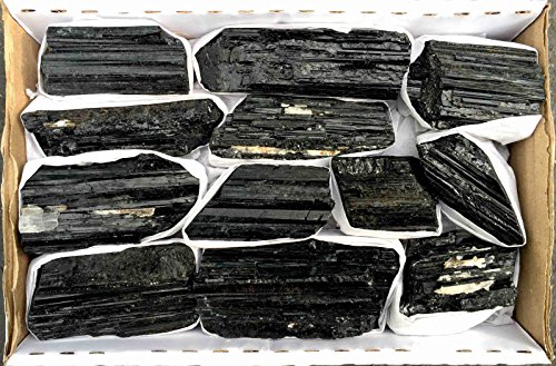 JIC Gem 2 Lb Black Tourmaline Collection in Box of 7x5x2, 10-15 pcs Healing Crystals