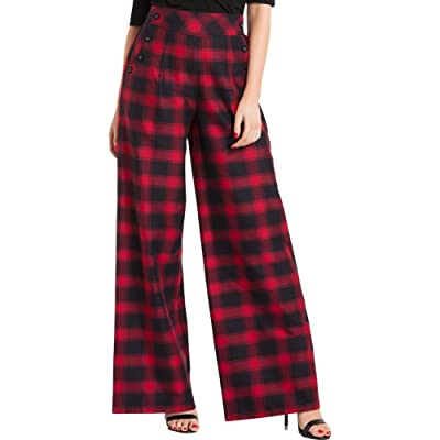 Voodoo Vixen Women's Rita Tartan Flared Trousers Red