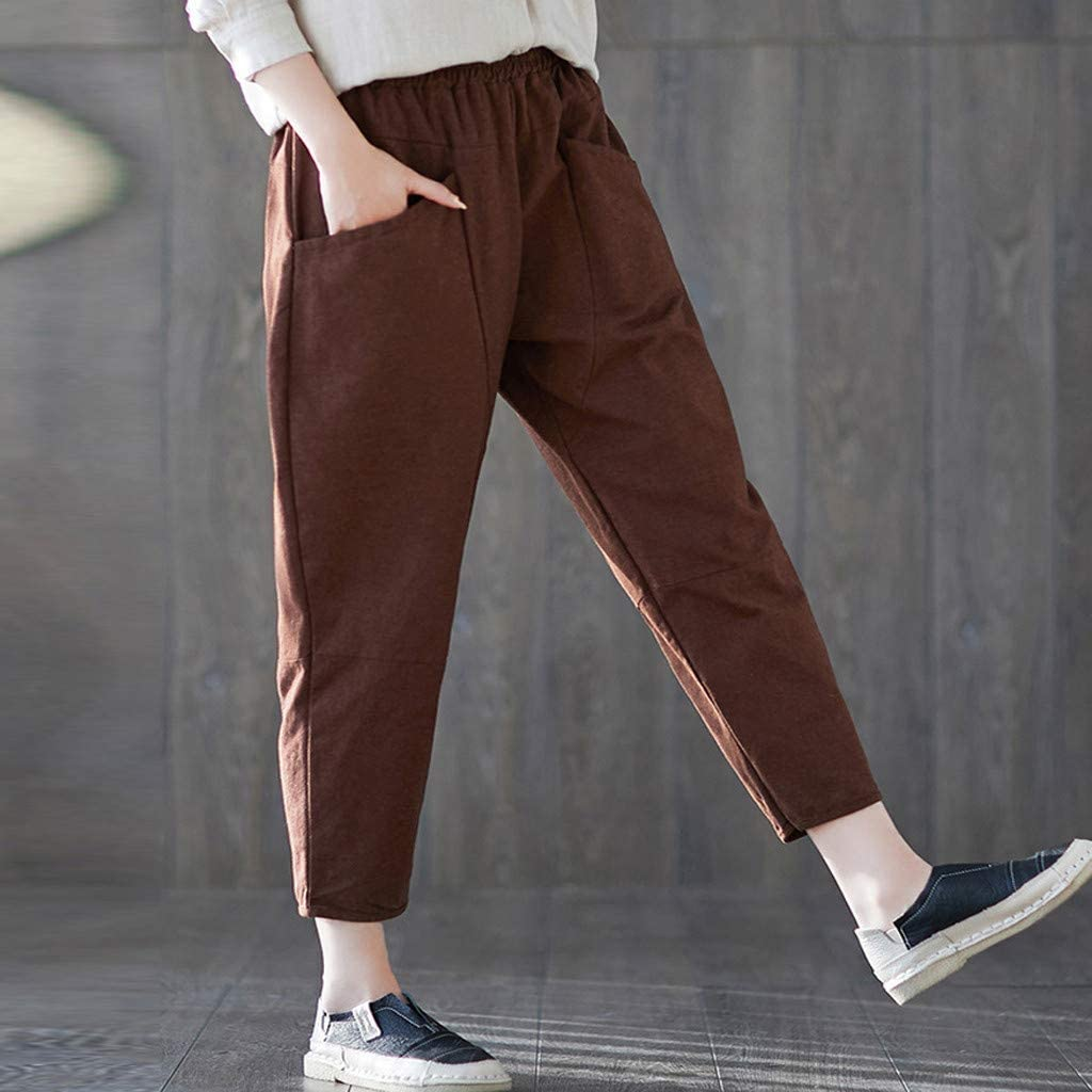 ZXDFG Women's High Waist Yoga Pants Shorts, Fashion Solid Color Pocket Casual Pants Loose Sportswear Coffee
