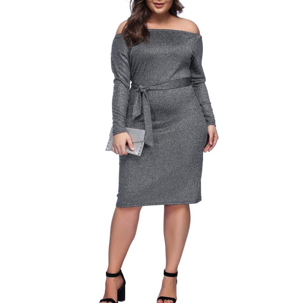 HOOYON Plus Size Dress Women\'s Off Shoulder Long Sleeve Shiny Bodycon Mini  Dress Silver
