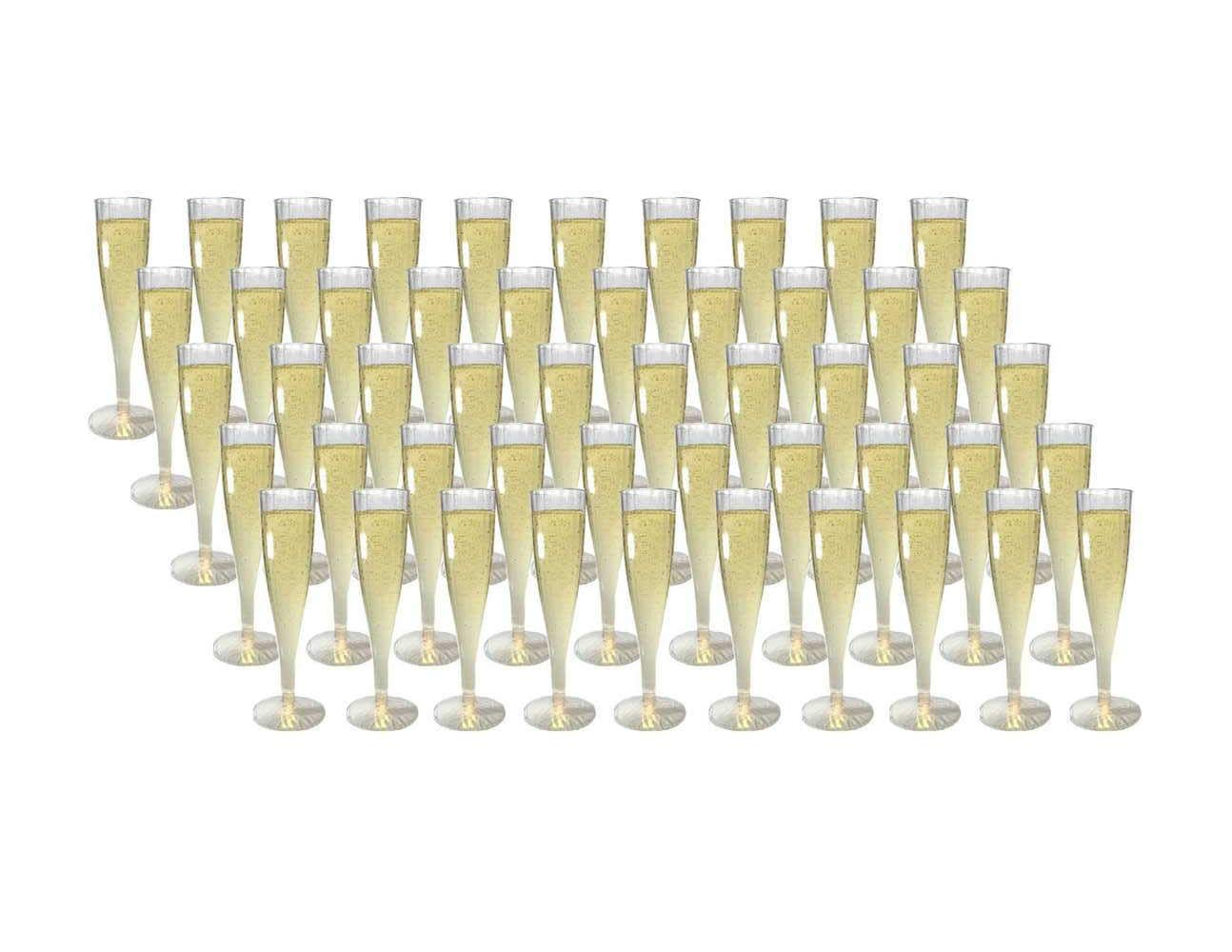 Platers 50 set Plastic Champagne Glasses Flutes for Martini Margarita Wine Disposable for Parties