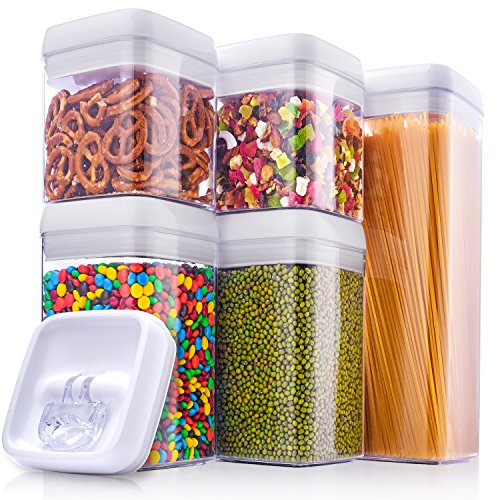 ME.FAN Air-Tight Food Storage Container Set - 5-Piece Set- Big Durable Seal Pot- For Dry Foods & Liquids - BPA Free - Clear Containers with White Lids (Set Canisters Tell Us)