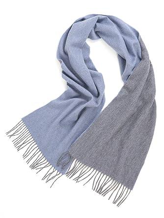 72f8cea9e8a6 Prettystern écharpe réversible bicolore 100% cachemire à franges pour  femmes et hommes câlin doux bleu