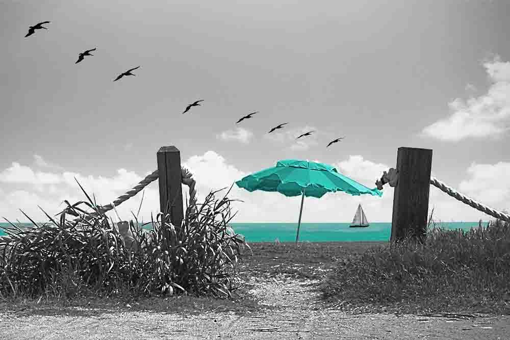 Beach Umbrella - Gray Background - 3 Decor Colors, Canvas Wrapped, Home Decor Wall Art Floral Flower Pictures, Living Room, Bedroom, Family Room, Kids Room (Teal, 20x30)