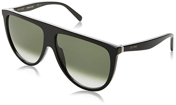 Céline Thin Shadow Gafas de sol, Black/Green Shaded, 61 para ...