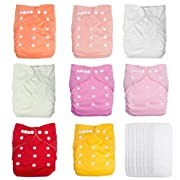 UBBCARE Baby Pocket Cloth Diapers Reusable Washable Adjustable 8 Pack with 8 Inserts for Girls Baby Shower Gifts