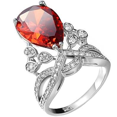 b9913685b2fff Amazon.com: Women Teardrop Pear Cut Red 3 Ct Cubic Zirconia CZ Ruby ...