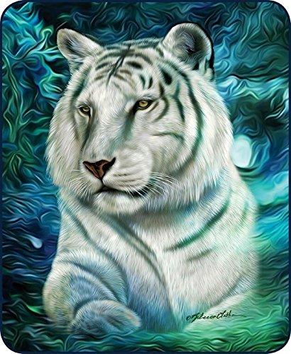 - Regal Comfort Queen Size White Tiger Aurora Beautiful Mink Faux Fur Blanket Super Soft Plush Fleece