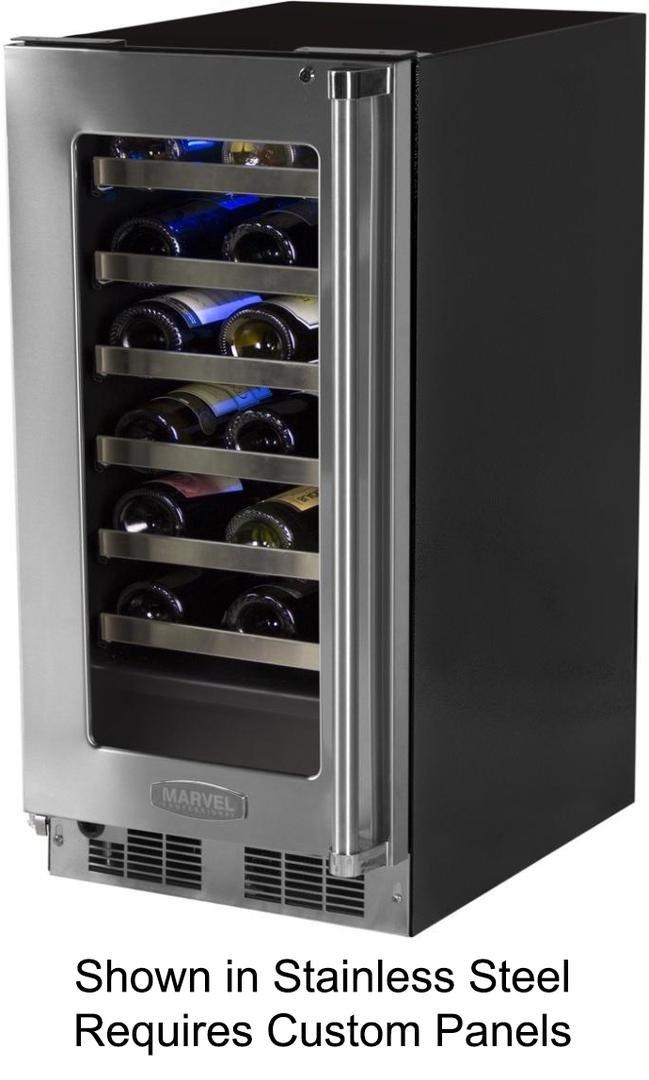 Marvel MP15WSF3LP Professional Single Zone Wine Cellar Panel Ready Overlay Door, 15'', Black