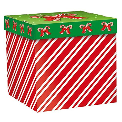 Amscan Very Merry Christmas Candy Cane Stripes Gift Box Party Favor, Multicolor, 6 1/4
