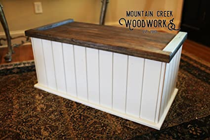 Mountain Creek Woodworks Tucker Chest   Rustic White Georgia Pine Storage/Toy/Hope  Chest