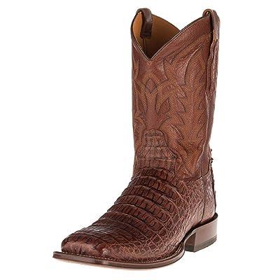 Tony Lama Boot Company Mens Horn Back Caiman Square Toe Cowboy Boots 10.5 Cognac | Western