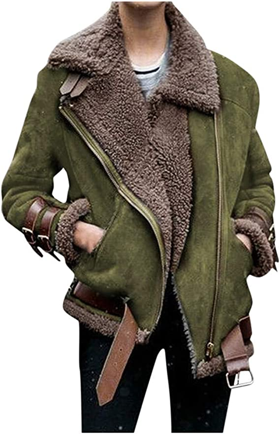 LONUPAZZ Manteau Fausse Fourrure Automne Hiver Femme Molleton Revers Bomber Manteaux Veste Motard Chaud Lapel Moto Zippé Blouson Jacket