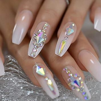NYJNN Uñas postizas Uñas lujosas personalizadas decoración de piedra grande puntas de uñas decoradas con forma de ataúd helado de Ober de acuerdo con el pegamento natural en las uñas: Amazon.es: Belleza