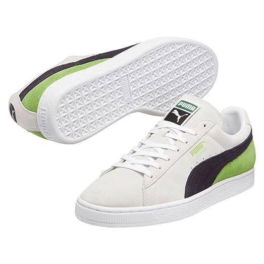 PUMA 359097 Mens Suede Classic + Blocked Shoe,White/Periscope/Jasmine Green  -