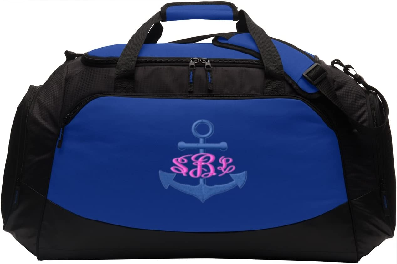 Personalized Anchor Gym Bag all about me company Large Active Duffel Bag True Royal//Black
