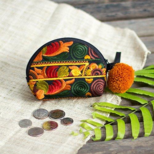 Coin Phone Souvenir#4 Thai Hmong Handmade Embroidered Bag Strap Wallet Cotton