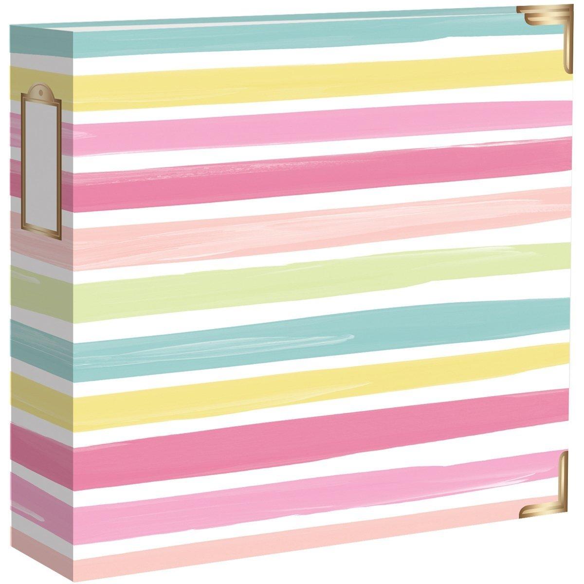 American Crafts Becky Higgins Project Life 12'' x 12'' D-Ring Scrapbook Album - Pastel Stripes