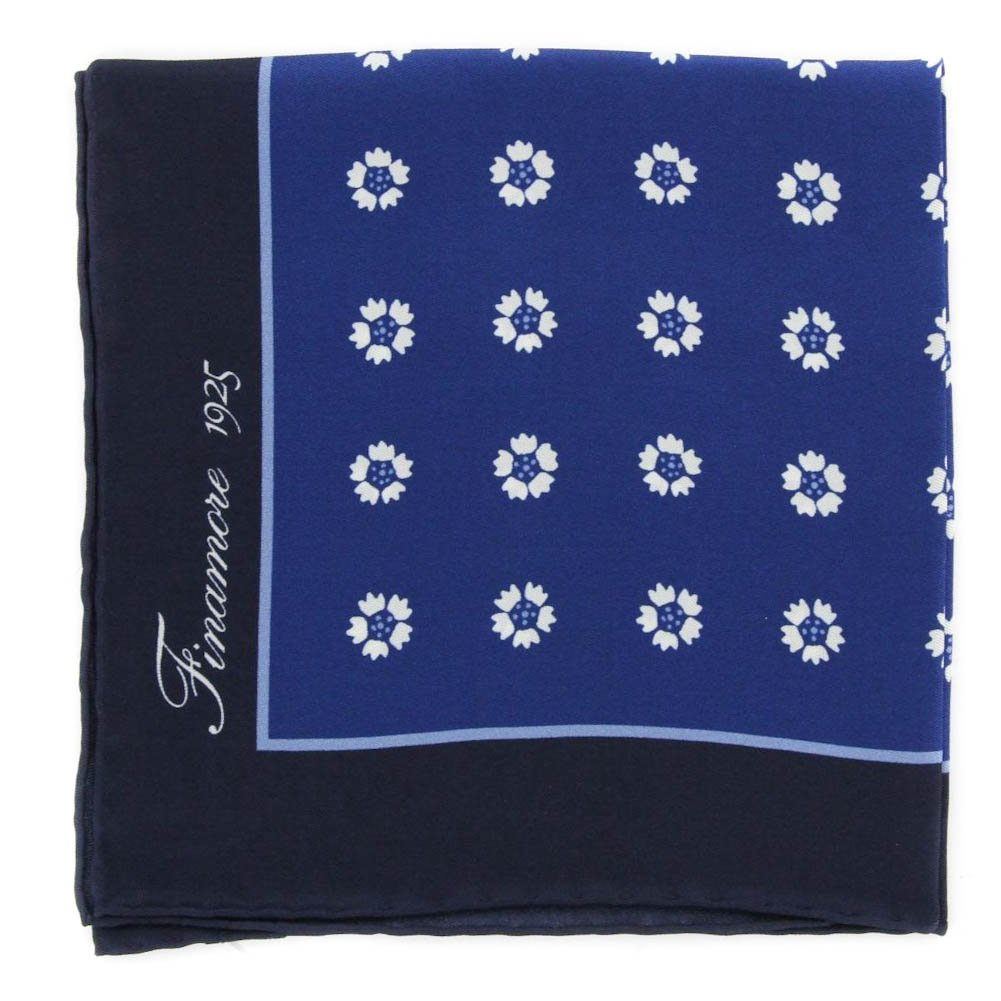 New Finamore Napoli Blue Floral Pocket Square 13 x 13