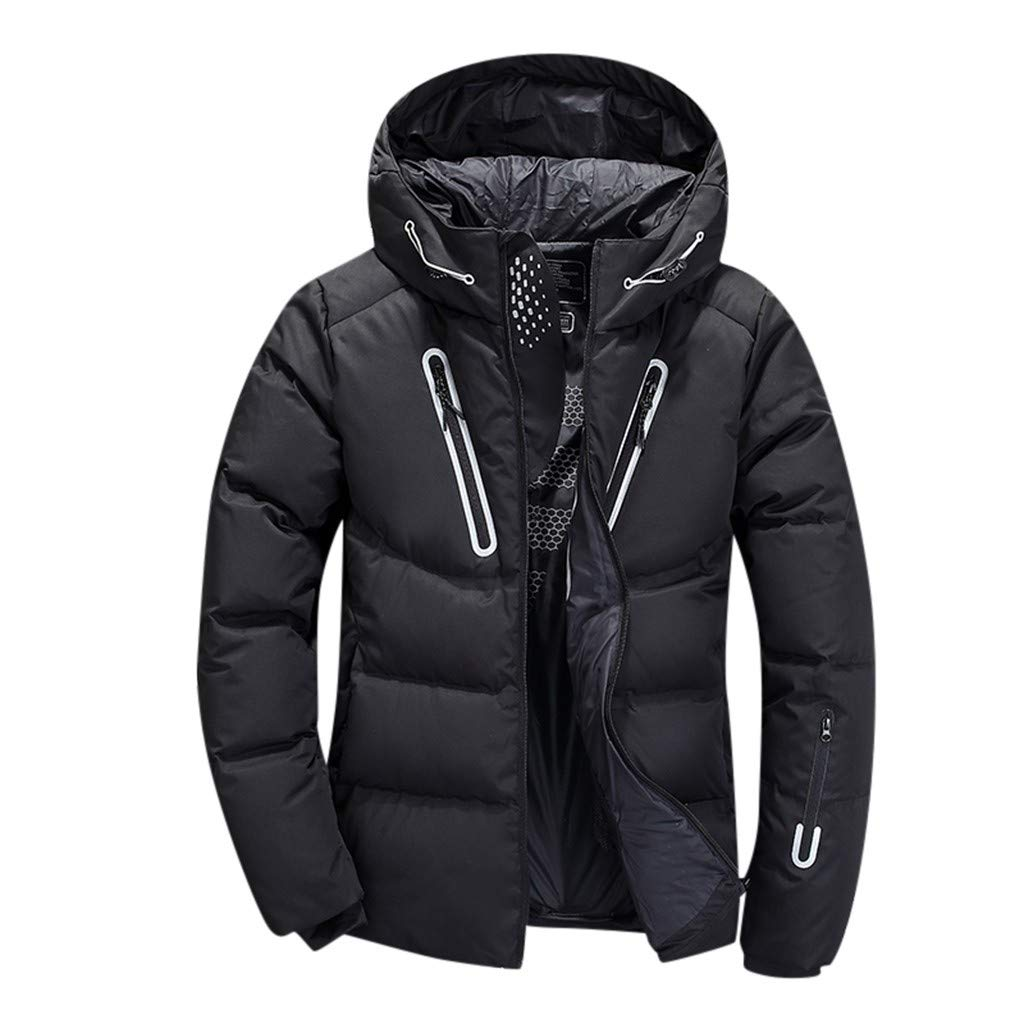Men's Autumn Winter Casual Pocket Button Thermal Leather Puffer Snow Jacket Top Coat Black by Han1dsome tops