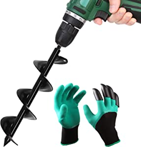 """BLIKA Auger Drill Bit for Planting, 3"""" x 12"""" Garden Plant Flower Bulb Auger with Garden Genie Gloves, Bulb & Bedding Plant Solid Shaft Auger for 3/8"""" Hex Drive Drill"""