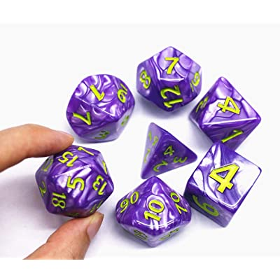 HD Dice- DND Polyhedral Dice Set 25mm Giant Dice for Dungeons and Dragons D&D Pathfinder RPG MTG Role Playing Dice with Dice Bag (Purple): Toys & Games
