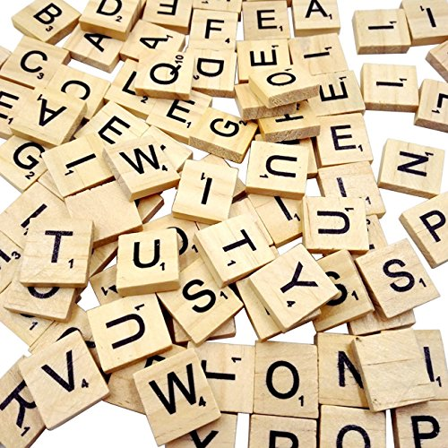 Sunnyglade 500PCS Wood Letter Tiles/ Wooden Scrabble Tiles A-Z Capital Letters for Crafts, Pendants, Spelling (Scrabble Letters For Crafts)