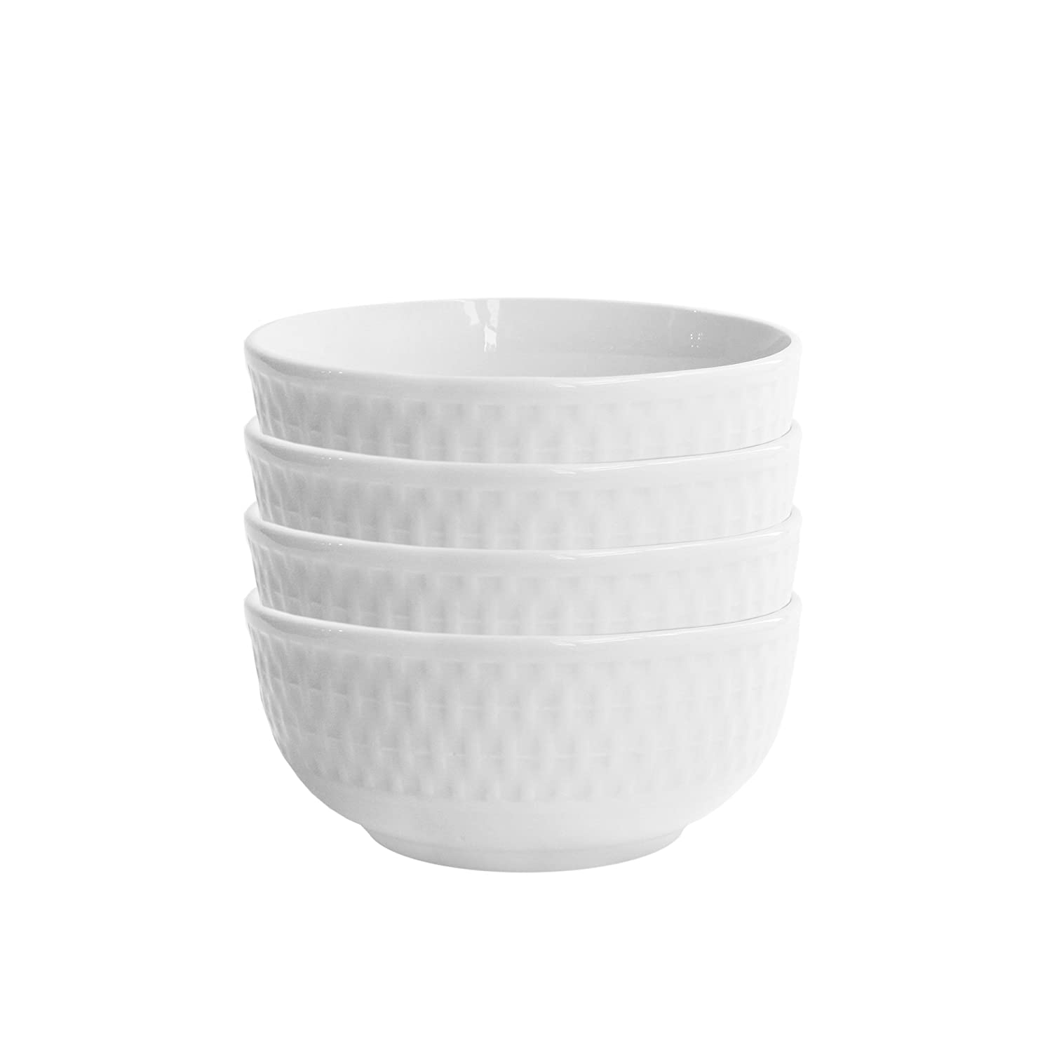 Elle Décor 6831-4BWL Juliette Kitchen Bowls, White