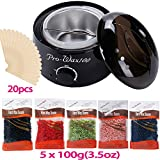 Facial Hair Removal For Black Skin - Hot Wax Warmer Cleaner Electric Waxing Kit for Body Foot Hand Skin Hair Removal Melting Pot Wax Machine with Hard Wax Beans Wax Applicator Sticks(Black)