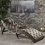 Christopher Knight Home 302203 Garret Velvet Chaise Lounge, Gray/Dark Brown