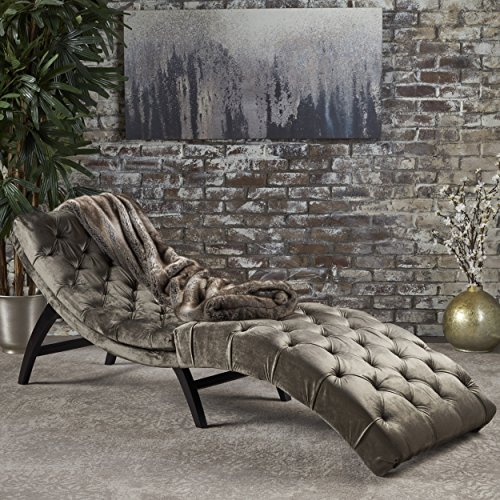 Brown Chaise Couch - Christopher Knight Home 302203 Garret Velvet Chaise Lounge, Gray/Dark Brown