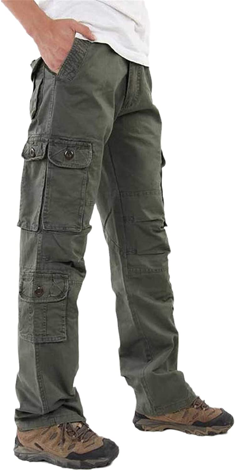 Mens Army Cargo Casual Cotton Pants Outdoor Trousers Loose Bib overalls Solid