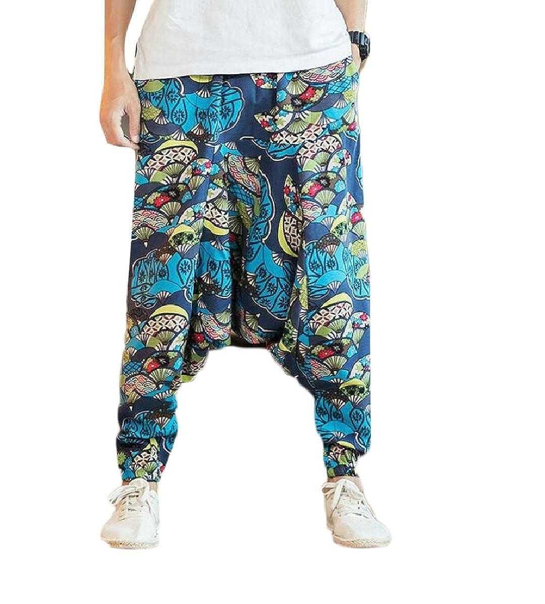 YIhujiuben Mens Smocked Waist Harem Boho Pants Floral Rayon Print Trousers