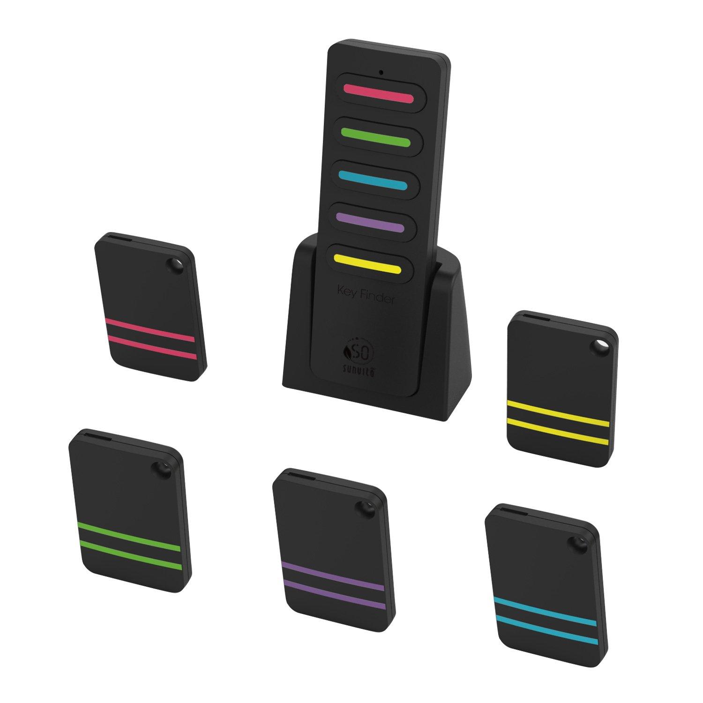 sunvito Key Finder,Wireless RF Item Locator Key Tracker Anti-Lost Alarm Keychain,Key,Pet,Wallet,Cell Phone,Luggage Tracker(1 RF Transmitter and 5 Receivers)