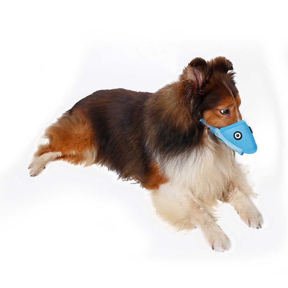 bluee M bluee M Fosinz Breathable Safety Muzzle Anti-bite Mouth Cover Anti Picking Licking Bitting Adjustable for Small Medium Large Extra Dog Postoperative Surgical Wound (M, bluee)