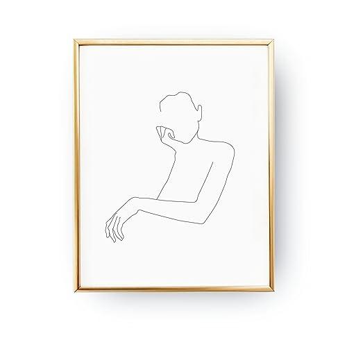 amazon com female portrait print linear drawing woman art