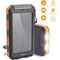 Soluser Solar Ladegerät Powerbank, 10000mAh Externe Batterie Akku IP65 Wasserdicht 2 USB Ports Portable Power Bank mit 3LED Taschenlampe, Karabiner und Kompass