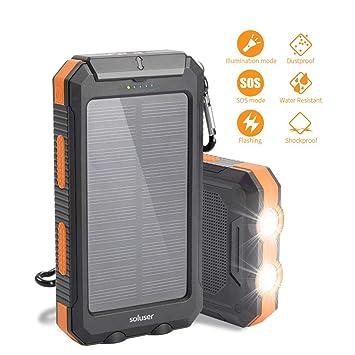 Soluser 10000mAh Cargador Solar Portátil Externo Batería de Reemplazo Cargador, IP67 Impermeable 2 Puertos USB Solar Power Bank Phone Charger con 2LED ...