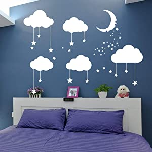 Big Clouds Stars Wall Decal Kids Nursery Bedroom Decor Sticker Clouds Moon Stars Art Baby Decal DIY Decor Clouds Decal (White, 28x35inch)