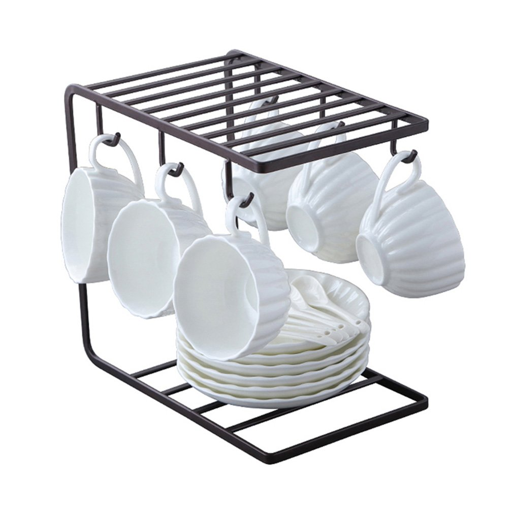 Mug Holder Organizer with 6 Hooks, Metal Coffee Cup Rack Stand for Kitchen Counter, Office Desk - 9.5 x 9.1Inch (Black)