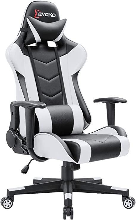 White Gaming Chair Pc Office Chair High Back Racing Style Executive Computer Gaming Office Chair With Adjustable Armrest And Tilt Funtion Home Kitchen Computer Gaming Chairs