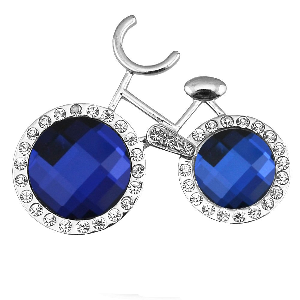 CHUYUN Sapphire Blue Rhinestone Leisure Bicycle Brooch Pin Silver Crystal Winter Accessories Jewelry