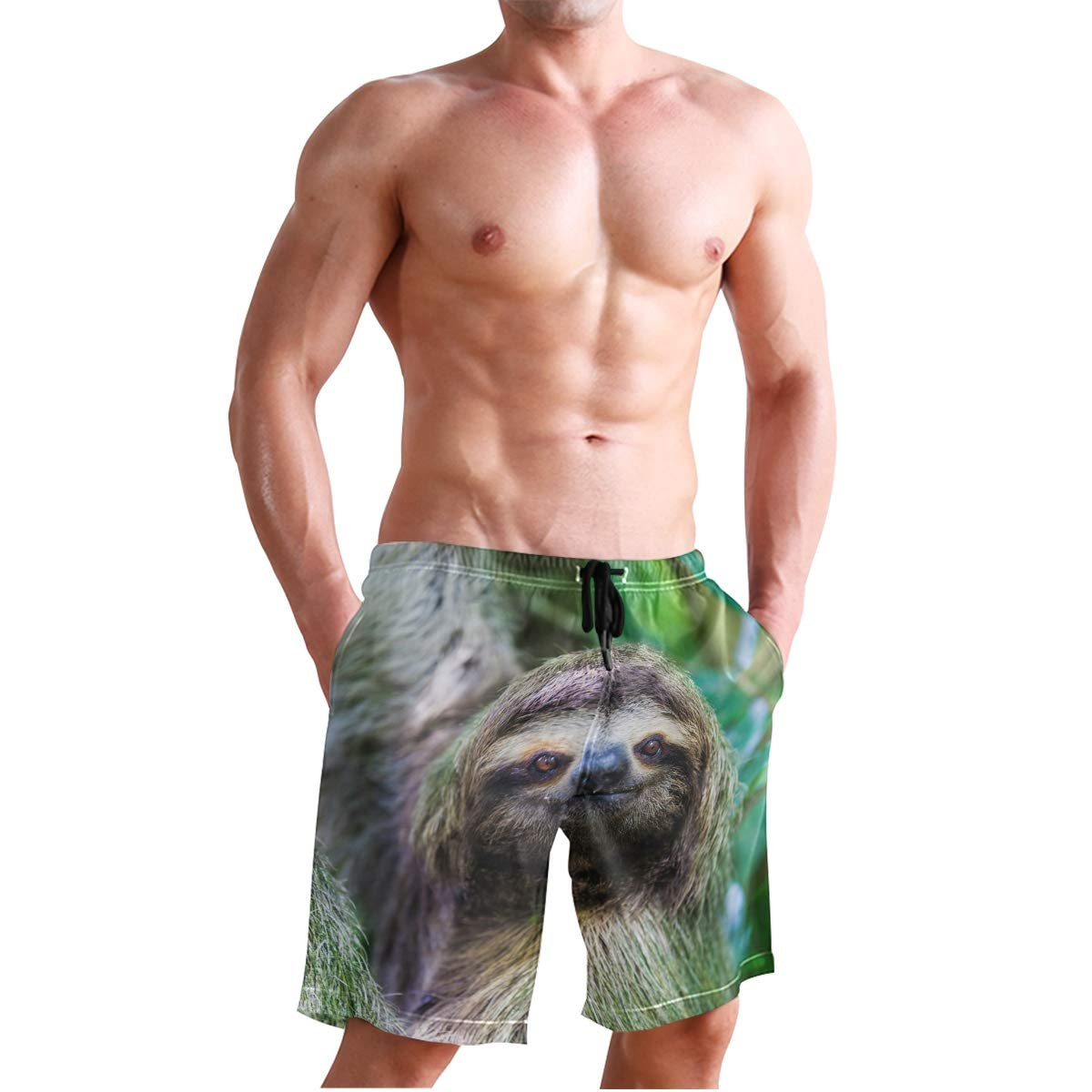 JECERY Mens Swim Trunks Cute Animal Sloth Quick Dry Board Shorts with Drawstring and Pockets