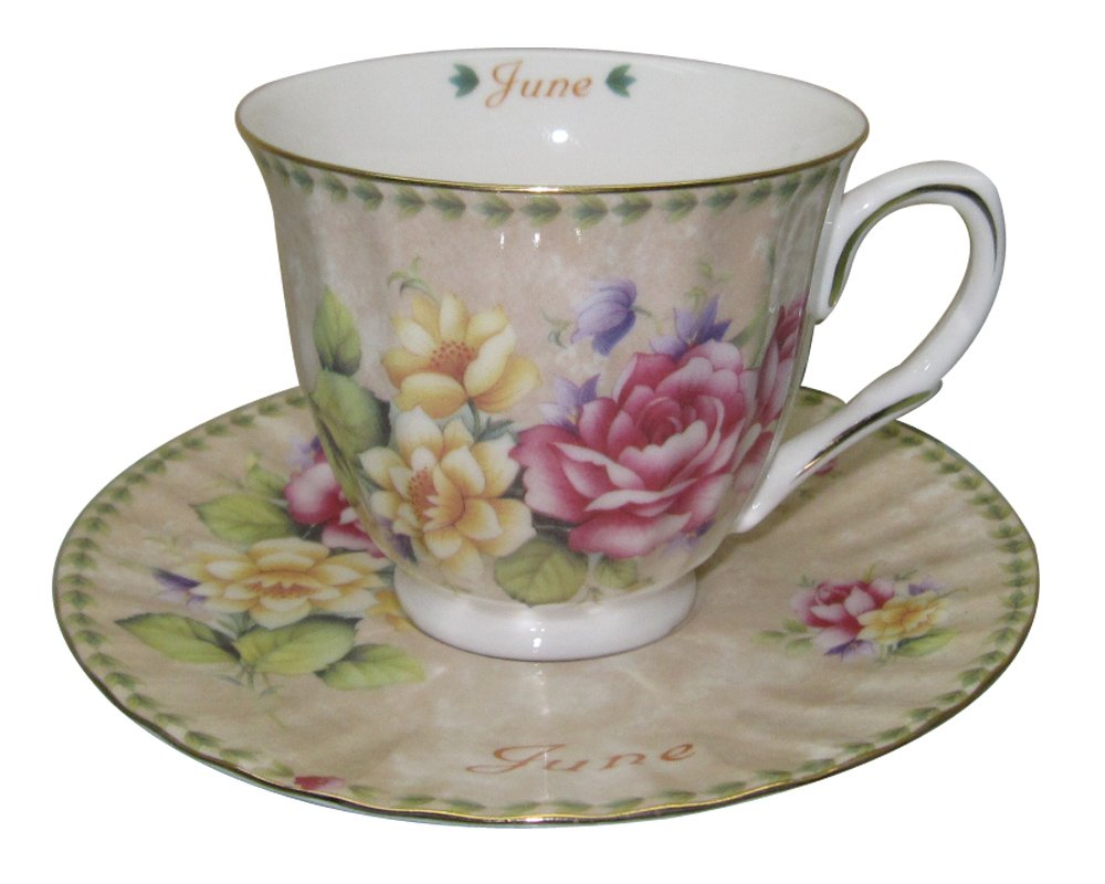 Month of June Gracie China by Coastline Imports Tea Cup and Saucer with Gold Trim 8-Ounce 35022-June Gift Boxed