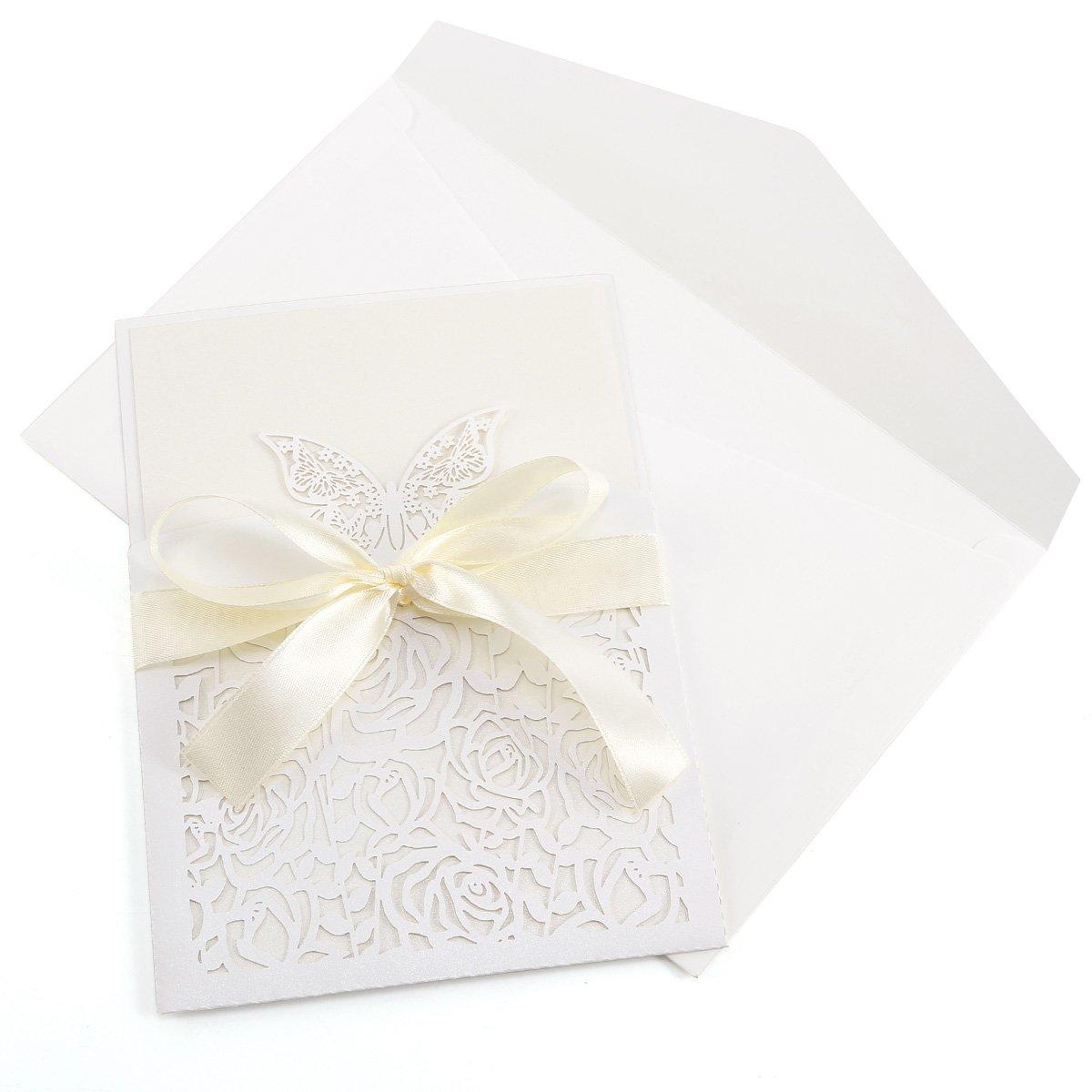 10/Day Time//Abend Hochzeit Einladungen Blatt mit Umschl/ägen