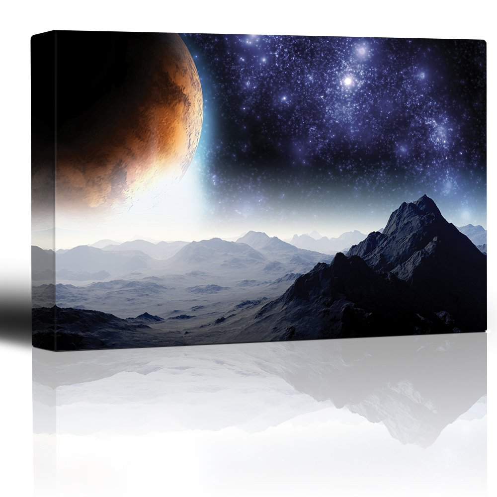 Rocky Mountains with View to The Golden Moon and Starry Sky, Crafted to Perfection, Unbelievable Work of Art
