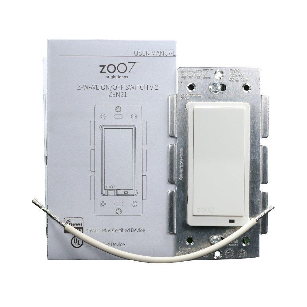 Zooz Z-Wave Plus On Off Wall Switch ZEN21 (White) VER. 2.0, Works ...