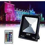 Foco exterior RGB de decoración Impermeable, Proyector Decorativo, foco de fiesta regulable, 16 colores y 4 modos, Funciona con control remoto, IP66, 30W 86-265V, Sin Enchufe